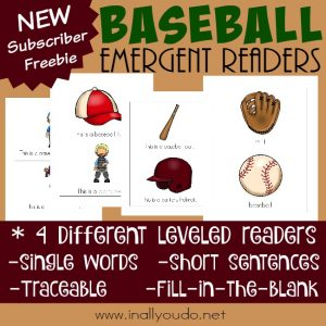 Free Baseball Emergent Readers