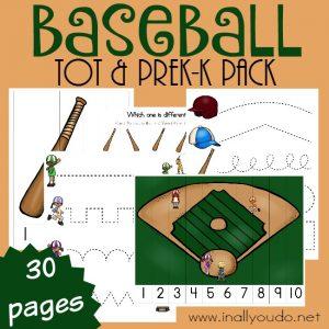 Free Baseball Tot & PreK-K Pack