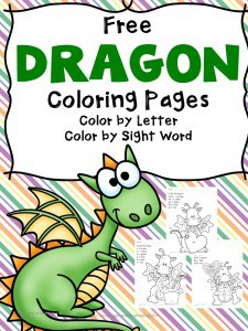 FREE DRAGON COLOR & READ WORKSHEETS