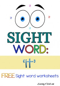 "FREE SIGHT WORD WORKSHEETS FOR ""it"""