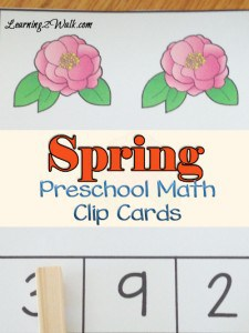 Free Spring Preschool Math Clip Cards