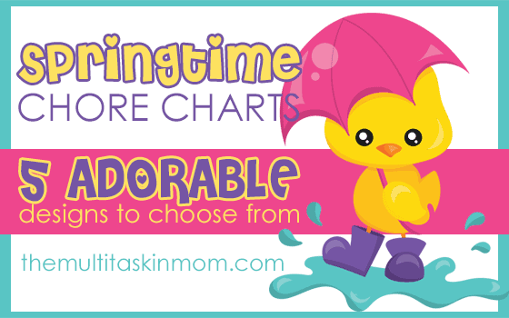 Adorable springtime chorecharts with 5 designs to choose from