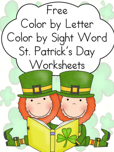 Free St. Patrick's Day Color by Letter and sight word worksheets