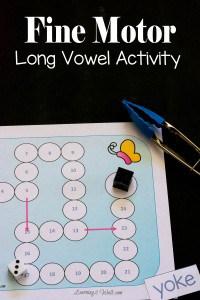 Free Fine Motor Long Vowel Activity Printable
