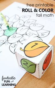 FREE PRINTABLE ROLL AND COLOR FALL MATH