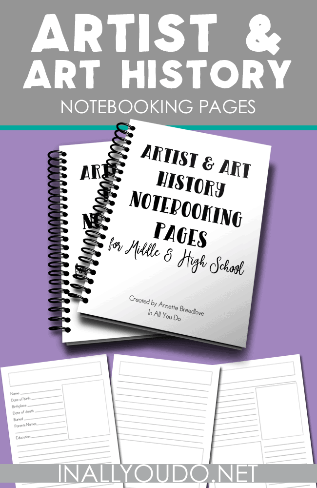 This artist and art history notebooking pages printable will be the perfect addition to any art curriculum or just a field trip to the museum.