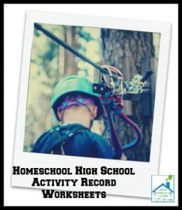 Homeschool High School Activity Record Worksheets
