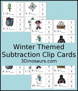 Winter Subtraction Card Clips