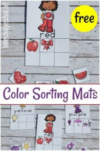 Printable Color Sorting Mats and Cards