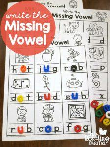 Write the Missing Vowel Worksheets – CVC Words