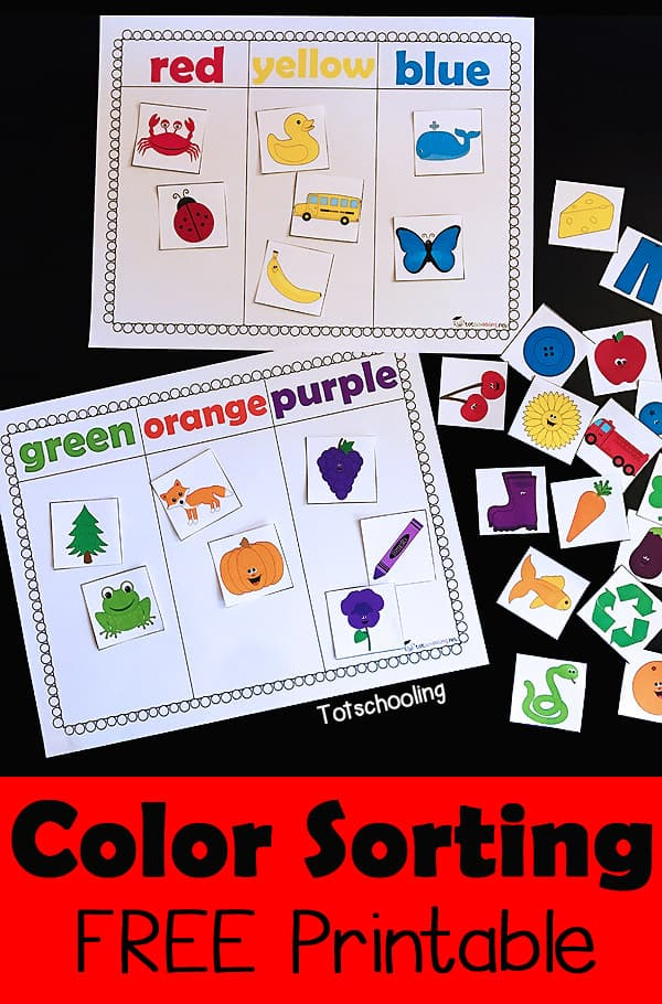 photograph relating to Free Printable Activities for Toddlers called Colour SORTING PRINTABLE Match - Homeschool Printables for