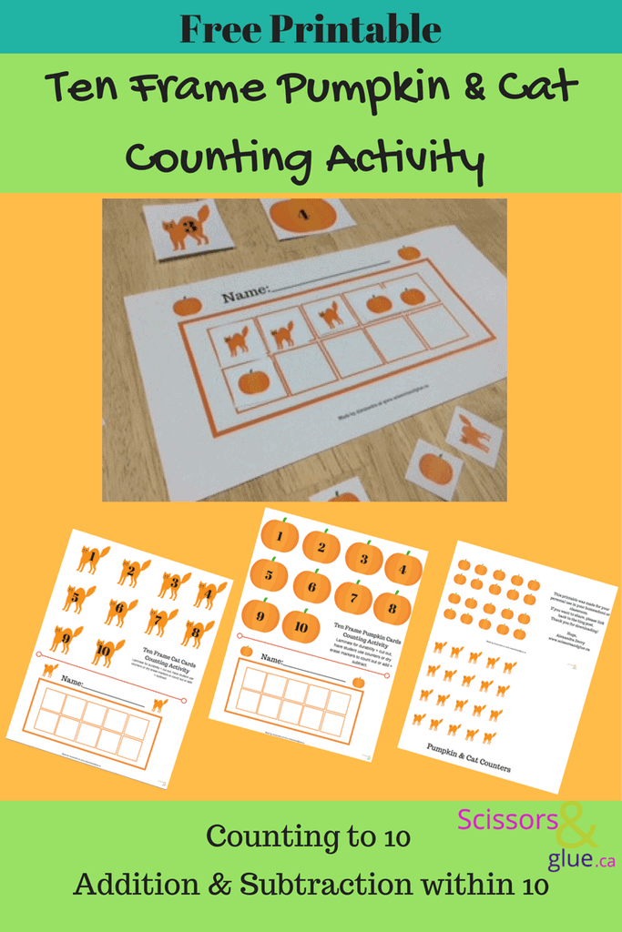 ten frame pumpkin cat counting activity free printable