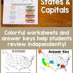 U.S.A. States and Capitals Worksheets
