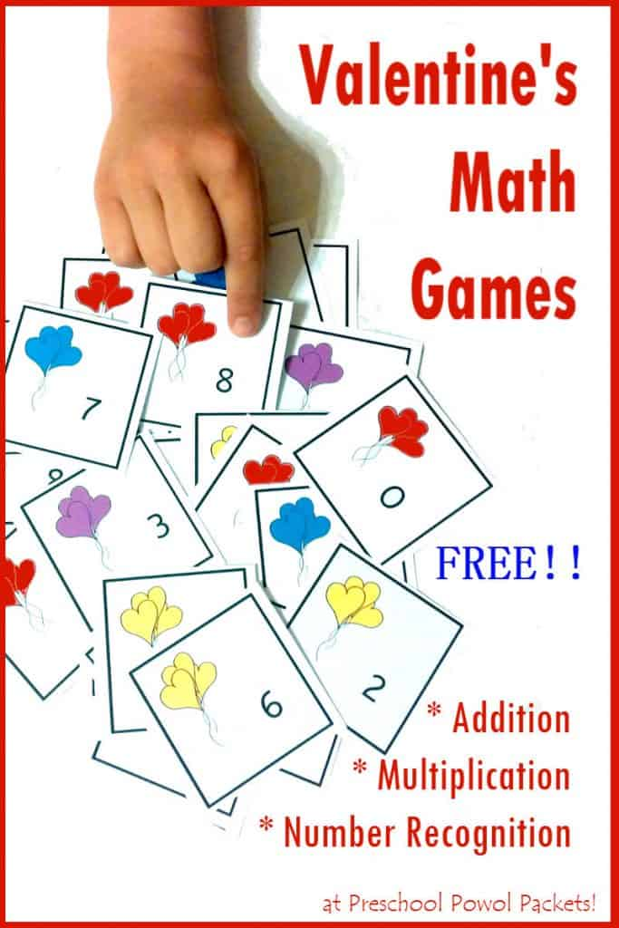 Valentine's Day Math Game Cards