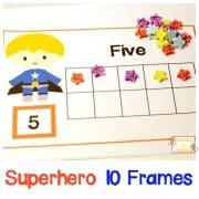 Super Hero Ten Frame Counting Mats