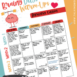 February Brainy Days Warmup Activities