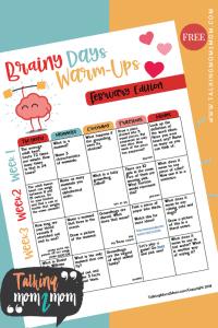 February Brainy Days Warmup Activities