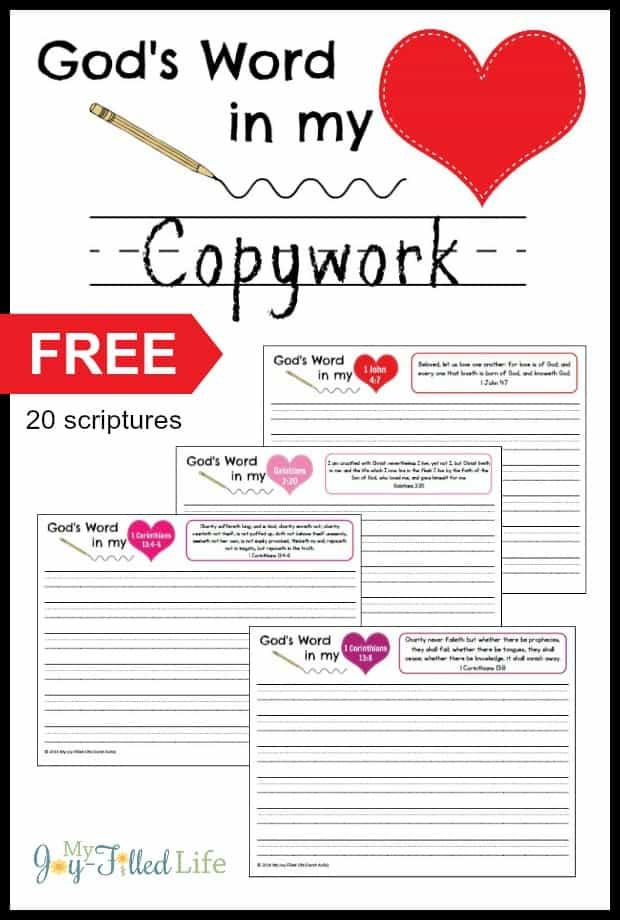 Scripture Copywork Hide God's Word in My Heart