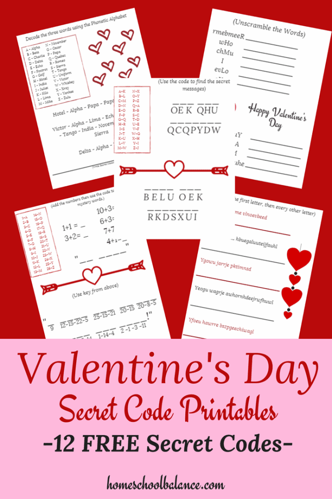 photograph about Valentines Puzzles Printable identified as Valentines Working day Mystery Code Puzzles - Homeschool Printables