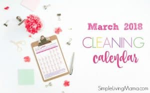Cleaning Calendar for March 2018