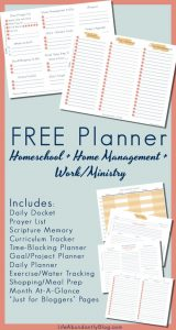 FREE Homeschool + Ministry + Home Management Planner