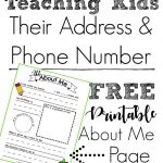 About Me Address and Phone Number Printable