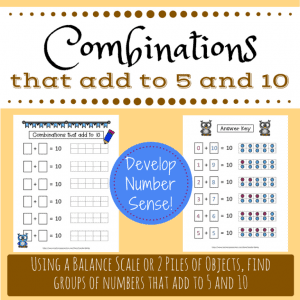 Combinations That Add to Five and Ten Printable