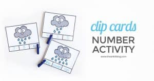 Counting Raindrops Clip Cards