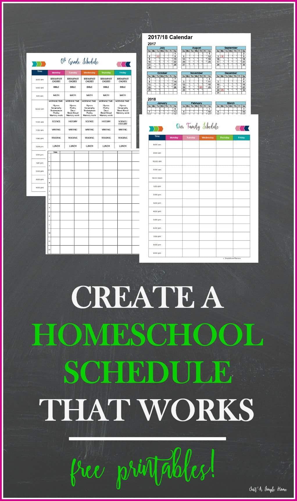 creating a homeschool schedule printable