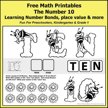 Are you teaching the number 10 in your homeschool?  Check out this number bond to 10 math worksheet today!  #printables #homeschoolmath