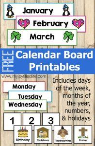 Calendar Board Printable