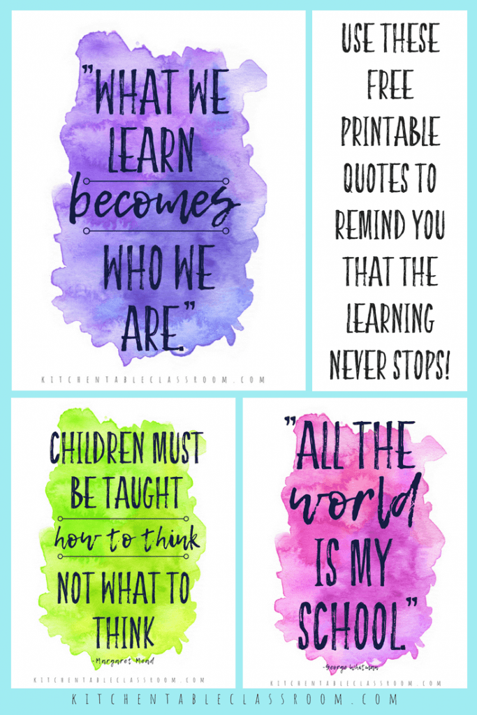 photograph relating to Free Printable Quotes named Printable Quotations pertaining to Understanding - Homeschool Printables for Cost-free