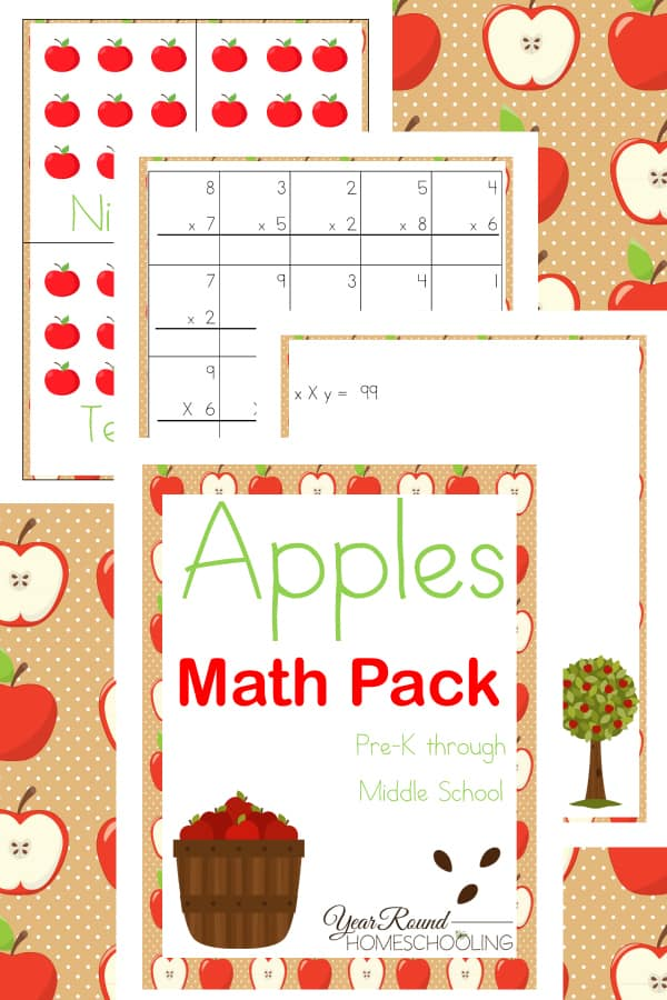 Are you using an apple theme in your homeschool this year?  Then you need this printable apple math pack!  Check it out now.  #apples #homeschool #math #printables