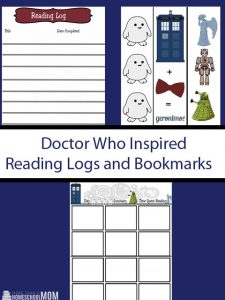 Doctor Who Theme Reading Logs and Bookmarks