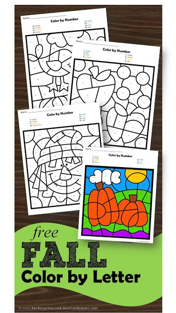 Are you looking for a super cute fall printable?  Check out this Fall Color By Letter printable today! #homeschool #fall #printable