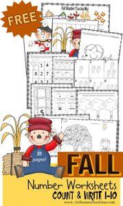 Printable Fall Counting Worksheets