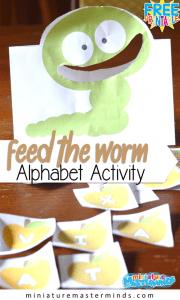 Feed the Worm Alphabet Printable