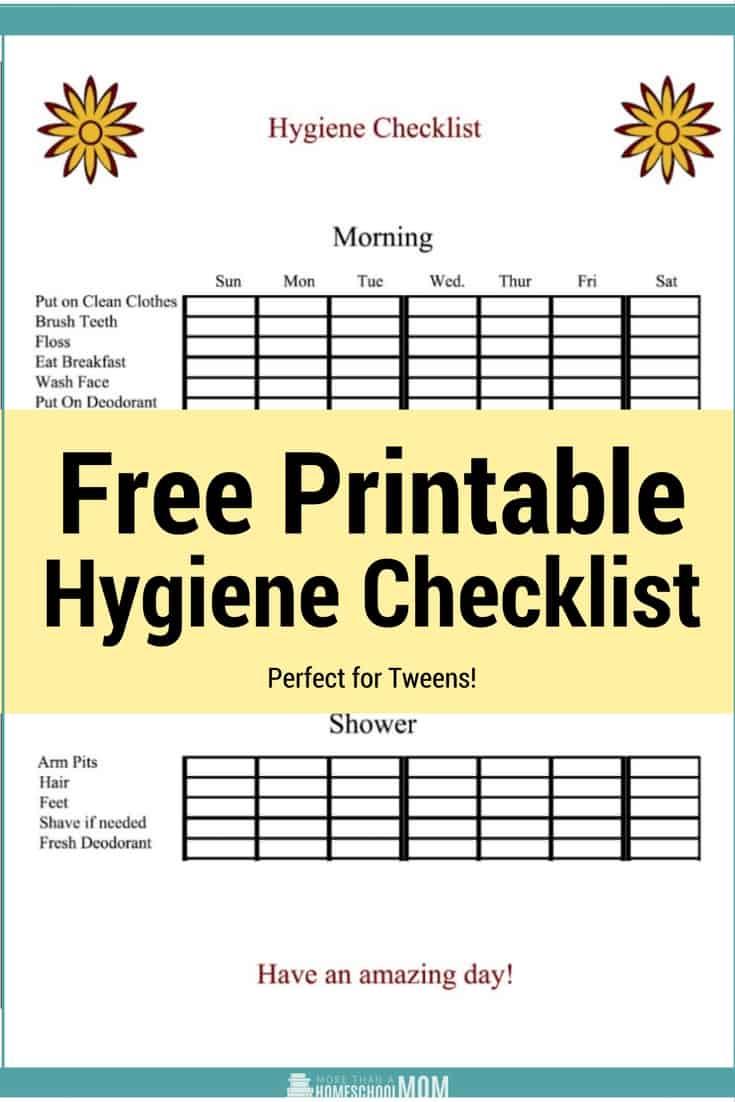 Printable Hygiene Checklist Homeschool Printables For Free