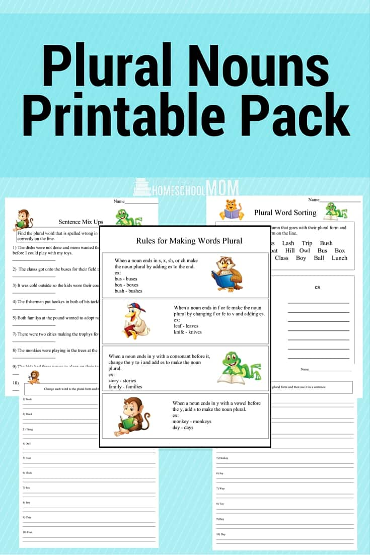 Plural Noun Printable Worksheets - Homeschool Printables for Free