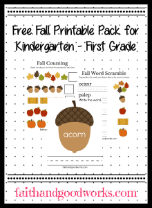Early Elementary Fall Printable