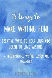 Making Writing Fun Plus a Graphic Organizer