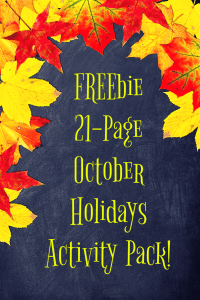 Freebie 21-Page October Holidays Activity Pack!
