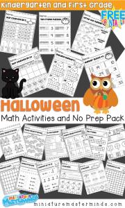 Halloween Themed Kindergarten and First Grade Math Activities and No Prep Math Worksheets