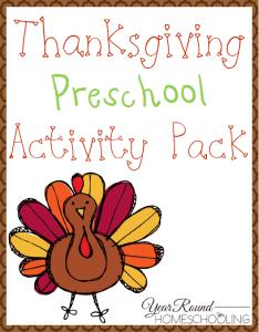 Preschool Thanksgiving Learning Pack