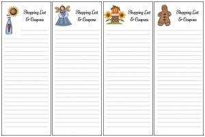 Printable Shopping List Envelopes