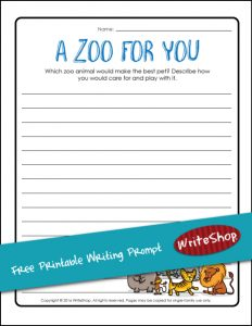 Free Zoo Animal Writing Prompt