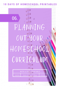 Free Curriculum Planning Page