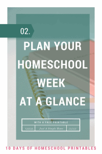 Week at a Glance Homeschool Planning Page