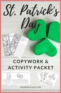 St. Patrick's Day Copywork & Activity Pack