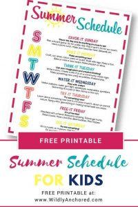 Free Summer Schedule for Kids